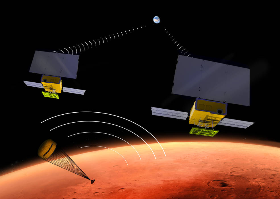 NASA's two small MarCO CubeSats will be flying past Mars in 2016 just as NASA's next Mars lander, InSight, is descending through the Martian atmosphere and landing on the surface. MarCO, for Mars Cube One, will provide an experimental communications relay to inform Earth quickly about the landing. Image Credit: NASA/JPL-Caltech