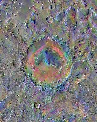 Gale Crater, home to NASA's Curiosity Mars rover, shows a new face in this image made using data from the THEMIS camera on NASA's Mars Odyssey orbiter. The colors come from an image processing method that identifies mineral differences in surface materials and displays them in false colors. Image Credit: NASA/JPL-Caltech/Arizona State University