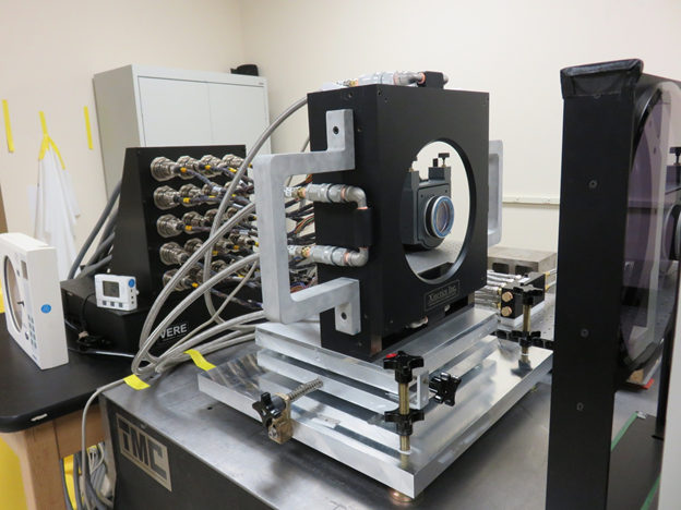 The M10 DM in the Zygo Interferometer test fixture at Xinetics, 12 May 2015.