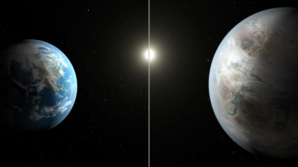 This artist's concept compares Earth (left) to the new planet, called Kepler-452b, which is about 60 percent larger in diameter. Image Credit: NASA/JPL-Caltech/T. Pyle