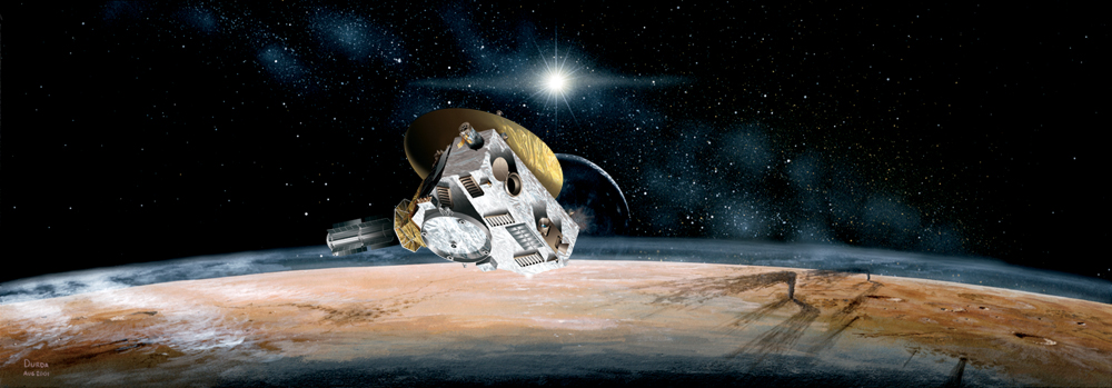 Artist's concept of the New Horizons spacecraft during its planned encounter with Pluto and its moon, Charon. The craft's miniature cameras, radio science experiment, ultraviolet and infrared spectrometers and space plasma experiments would characterize the global geology and geomorphology of Pluto and Charon, map their surface compositions and temperatures, and examine Pluto's atmosphere in detail. The spacecraft's most prominent design feature is a nearly 7-foot (2.1-meter) dish antenna, through which it would communicate with Earth from as far as 4.7 billion miles (7.5 billion kilometers) away. Image Credit: JHUAPL/SwRI