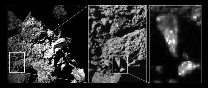 Brightness variations of comet surface. Image Credit: ESA/Rosetta/Philae/CIVA