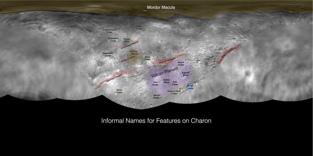 (Click to enlarge) This image contains the initial, informal names being used by the New Horizons team for the features on Pluto's largest moon, Charon. Names were selected based on input the team received from a public naming campaign. Names have not yet been approved by the International Astronomical Union (IAU). Image Credit: NASA/Johns Hopkins University Applied Physics Laboratory/Southwest Research Institute
