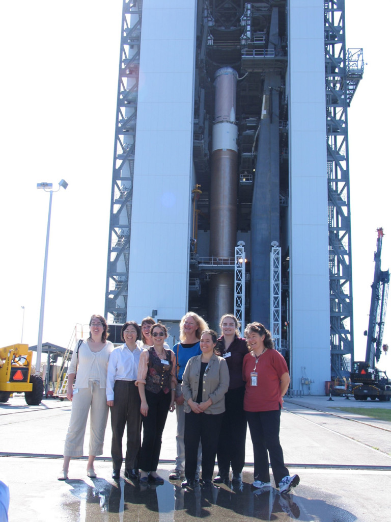 Members of the New Horizons team are shown at the launch of the spacecraft, Kennedy Space Center, Cape Canaveral, Florida on January 19, 2006. From left to right: Leslie Young, Yanping Guo, Cathy Olkin, Jeanette Thorn, Debi Rose, Ann Harch, Heather Elliott, Fran Bagenal. Image Credit: KSC/NASA