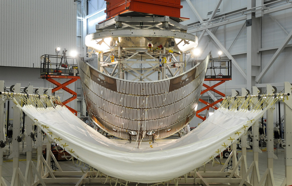 A protective panel for Orion's service module is jettisoned during testing at Lockheed Martin's Sunnyvale, California facility. This test series evaluated design changes to the spacecraft's fairing separation system. Image Credit: Lockheed Martin