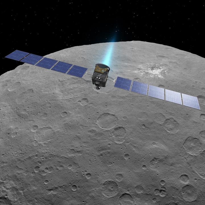 An artist's concept of Dawn using its ion engines at Ceres. Image Credit: NASA