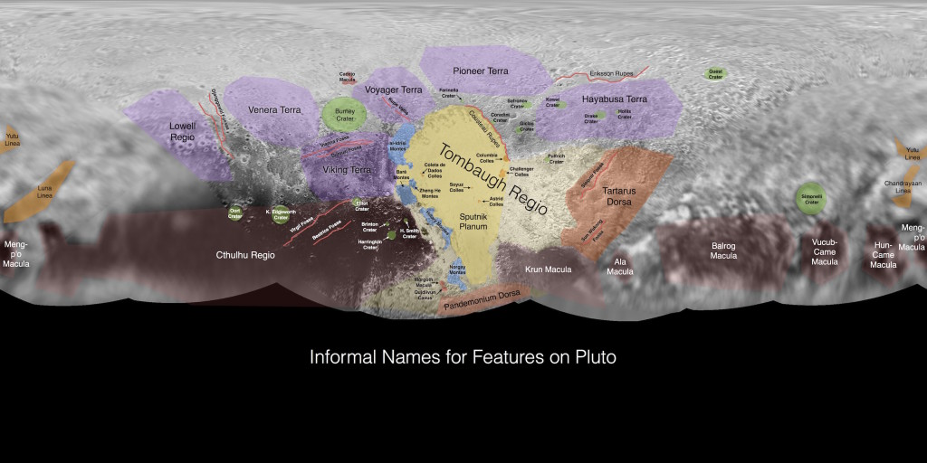 (Click to enlarge) This image contains the initial, informal names being used by the New Horizons team for the features and regions on the surface of Pluto. Names were selected based on input the team received from a public naming campaign. Names have not yet been approved by the International Astronomical Union (IAU). Image Credit: NASA/Johns Hopkins University Applied Physics Laboratory/Southwest Research Institute