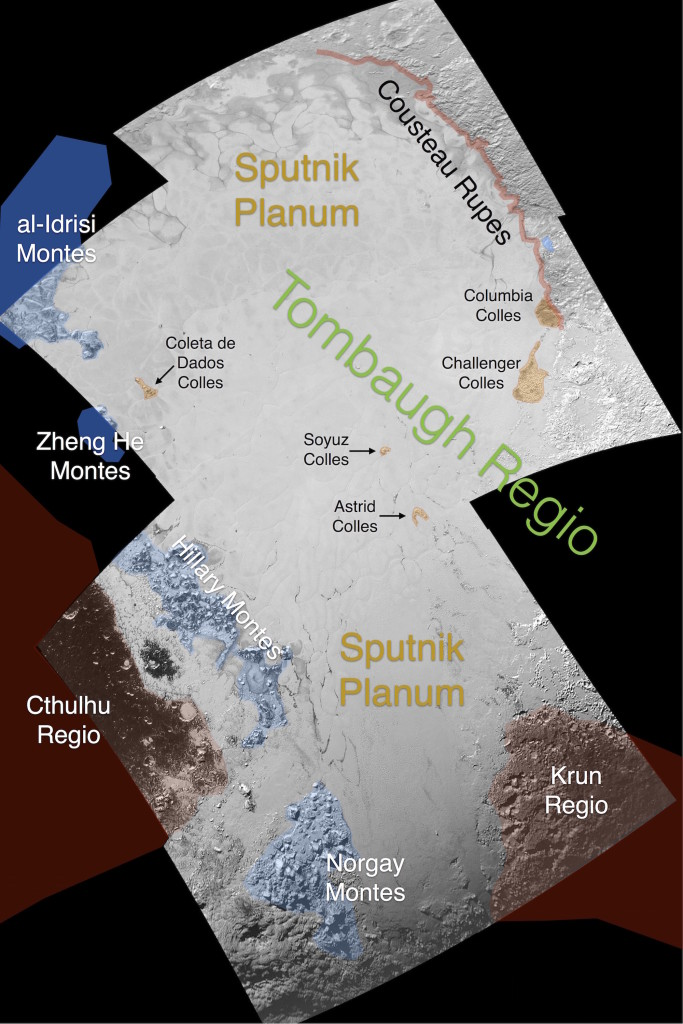 This image contains the initial, informal names being used by the New Horizons team for the features on Pluto's Sputnik Planum (plain). Names were selected based on input the team received from a public naming campaign. Names have not yet been approved by the International Astronomical Union (IAU). Image Credit: NASA/Johns Hopkins University Applied Physics Laboratory/Southwest Research Institute