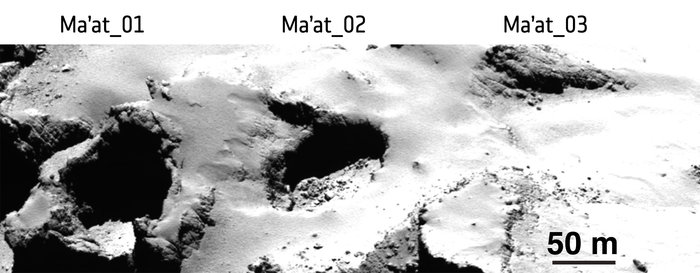 Pits Ma'at 1, 2 and 3 on Comet 67P/Churyumov–Gerasimenko show differences in appearance that may reflect their history of activity. While pits 1 and 2 are active, no activity has been observed from pit 3. The young, active pits are particularly steep-sided, whereas pits without any observed activity are shallower and seem to be filled with dust. Middle-aged pits tend to exhibit boulders on their floors from mass-wasting of the sides. Image Credit: ESA/Rosetta/MPS for OSIRIS Team MPS/UPD/LAM/IAA/SSO/INTA/UPM/DASP/IDA