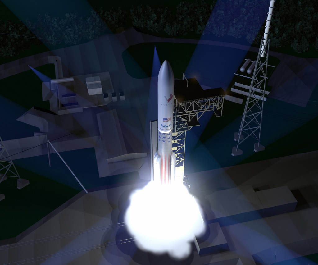 An artist's concept of the ULA Vulcan rocket. Image Credit: ULA