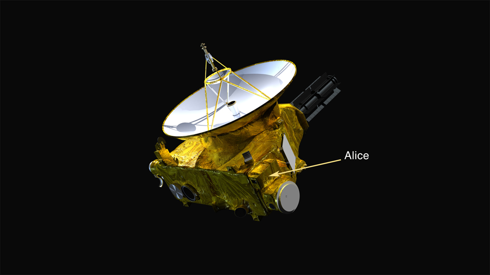 The location of the Alice ultraviolet imaging spectrograph on the New Horizons spacecraft is indicated. Image Credit: Photo credit: NASA/Johns Hopkins Applied Physics Laboratory/Southwest Research Institute