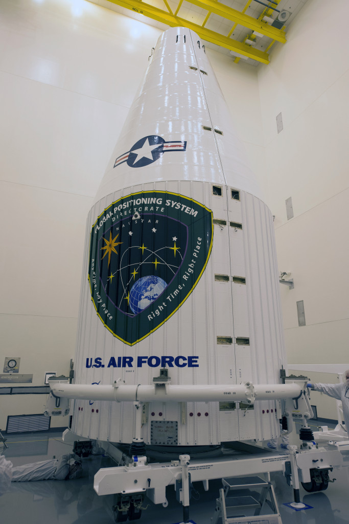 The Air Force's GPS IIF-10 satellite is encapsulated inside an Atlas V 4-meter payload fairing. Image Credit: United Launch Alliance