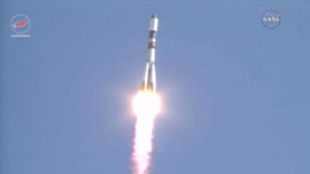 The ISS Progress 60 resupply ship launches on time from the Baikonur Cosmodrome. Image Credit: NASA TV