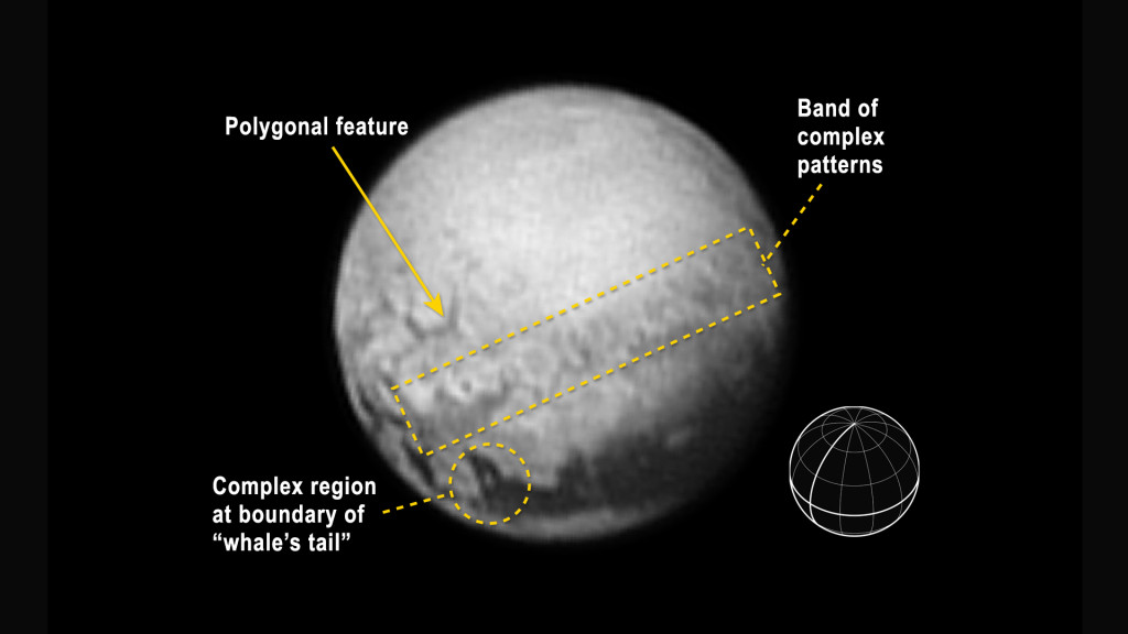 An annotated version indicates features described in the text, and includes a reference globe showing Pluto's orientation in the image, with the equator and central meridian in bold. Image Credit: NASA-JHUAPL-SWRI