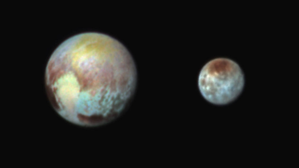 Pluto and Charon in False Color Show Compositional Diversity. Image Credit: NASA/JHUAPL/SwRI