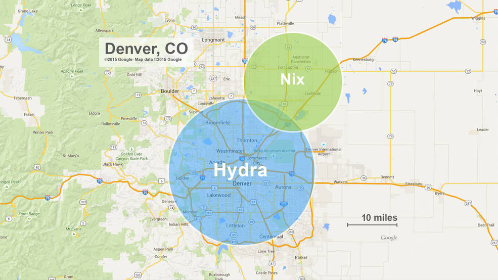 The approximate sizes of Pluto's moons Nix and Hydra compared to Denver, Colorado. While Nix and Hydra are illustrated as circles in this diagram, mission scientists anticipate that future observations by New Horizons will show that they are irregular in shape. Image Credit: JHUAPL/Google