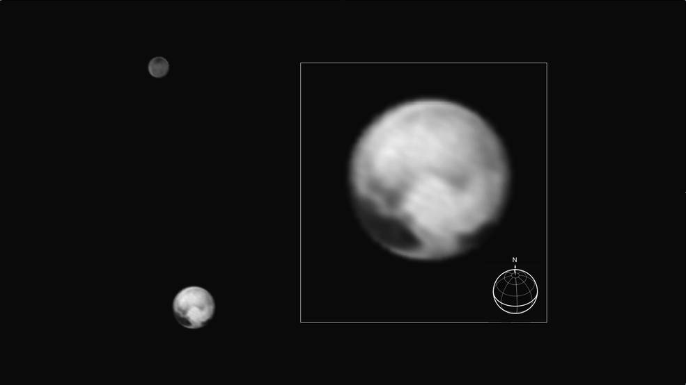 Pluto and its largest moon Charon seen from New Horizons on July 1, 2015. The inset shows Pluto enlarged; features as small as 100 miles (160 kilometers) across are visible. Image Credit: NASA/JHUAPL/SWRI