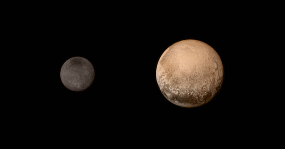 A portrait from the final approach. Pluto and Charon display striking color and brightness contrast in this composite image from July 11, showing high-resolution black-and-white LORRI images colorized with Ralph data collected from the last rotation of Pluto. Color data being returned by the spacecraft now will update these images, bringing color contrast into sharper focus. Image Credit: NASA-JHUAPL-SWRI
