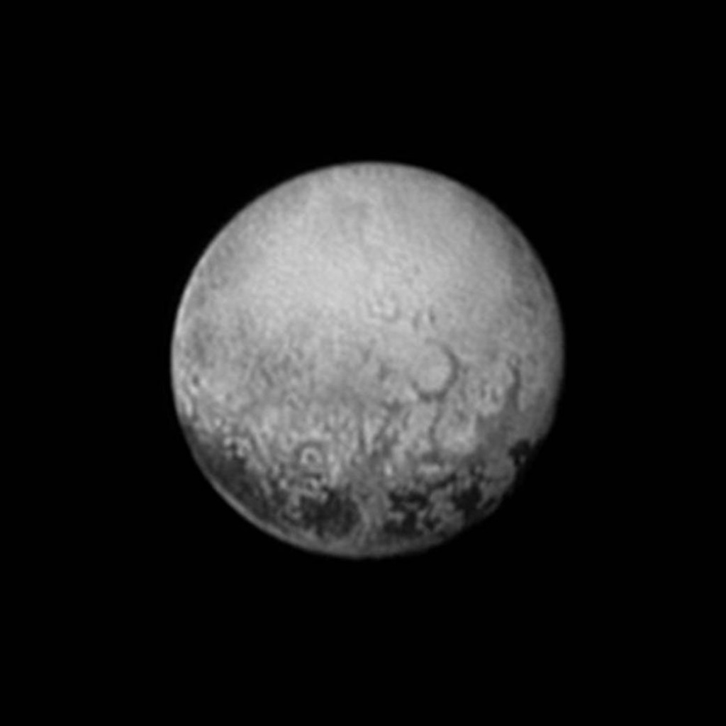 New Horizons' last look at Pluto's Charon-facing hemisphere reveals intriguing geologic details that are of keen interest to mission scientists. This image, taken early the morning of July 11, 2015, shows newly-resolved linear features above the equatorial region that intersect, suggestive of polygonal shapes. This image was captured when the spacecraft was 2.5 million miles (4 million kilometers) from Pluto. Image credit: NASA/JHUAPL/SWRI