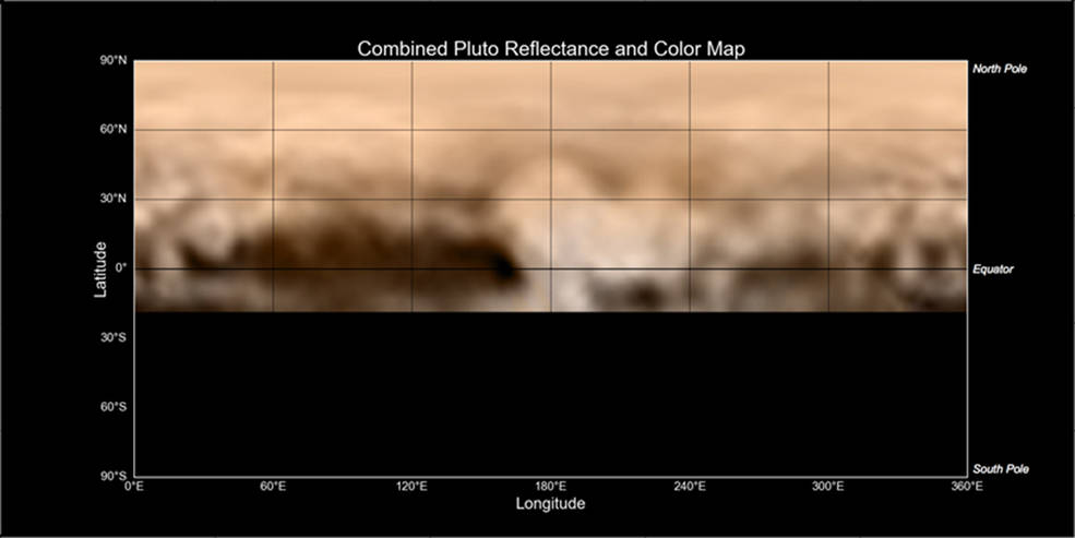 This map of Pluto, made from images taken by the LORRI instrument aboard New Horizons, shows a wide array of bright and dark markings of varying sizes and shapes. Perhaps most intriguing is the fact that all of the darkest material on the surface lies along Pluto's equator. The color version was created from lower-resolution color data from the spacecraft's Ralph instrument. Image Credit: NASA-JHUAPL-SWRI