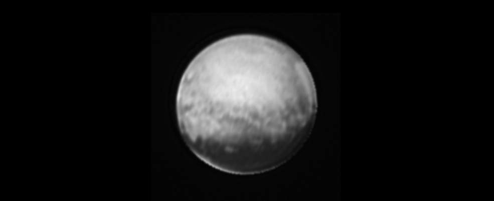 "mage of Pluto only from the New Horizons' Long Range Reconnaissance Imager (LORRI), July 8, 2015. Most of the bright features around Pluto's edge are a result of image processing, but the bright sliver below the dark ""whale,"" which is also visible in unprocessed images, is real. Image Credit: NASA-JHUAPL-SWRI"