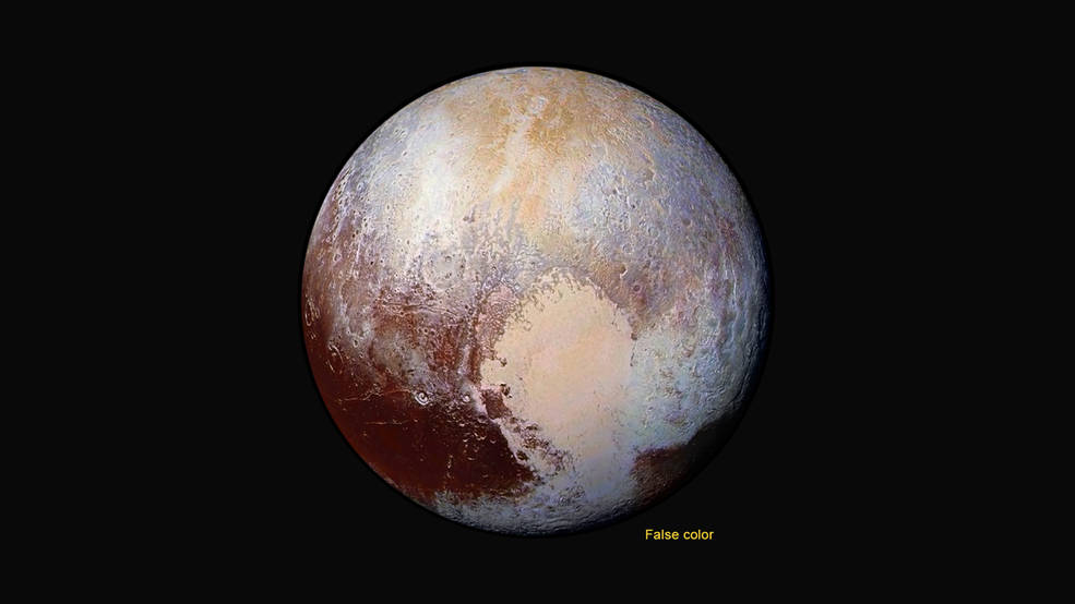 Four images from New Horizons' Long Range Reconnaissance Imager (LORRI) were combined with color data from the Ralph instrument to create this enhanced color global view of Pluto. (The lower right edge of Pluto in this view currently lacks high-resolution color coverage.) The images, taken when the spacecraft was 280,000 miles (450,000 kilometers) away, show features as small as 1.4 miles (2.2 kilometers), twice the resolution of the single-image view taken on July 13. Image Credit: NASA/JHUAPL/SwRI