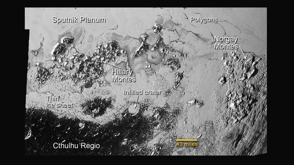 This annotated image of the southern region of Sputnik Planum illustrates its complexity, including the polygonal shapes of Pluto's icy plains, its two mountain ranges, and a region where it appears that ancient, heavily-cratered terrain has been invaded by much newer icy deposits. The large crater highlighted in the image is about 30 miles (50 kilometers) wide, approximately the size of the greater Washington, DC area. Image Credit: NASA/JHUAPL/SwRI