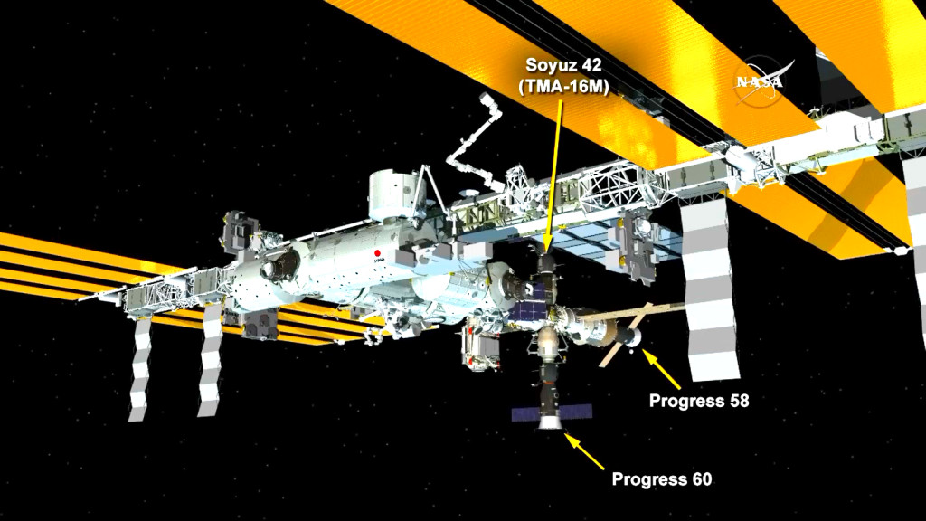 The ISS Progress 60 cargo craft is now docked to the Pirs docking compartment. Image Credit: NASA TV