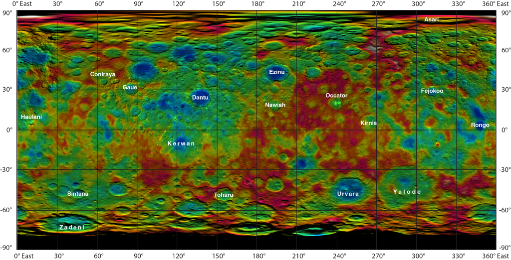 This color-coded map from NASA's Dawn mission shows the highs and lows of topography on the surface of dwarf planet Ceres. Image Credit: NASA/JPL-Caltech/UCLA/MPS/DLR/IDA
