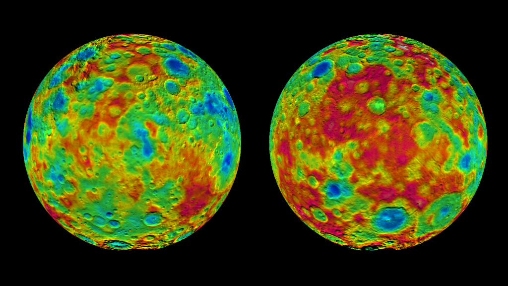 This pair of images shows color-coded maps from NASA's Dawn mission, revealing the highs and lows of topography on the surface of dwarf planet Ceres. Image Credit: NASA/JPL-Caltech/UCLA/MPS/DLR/IDA