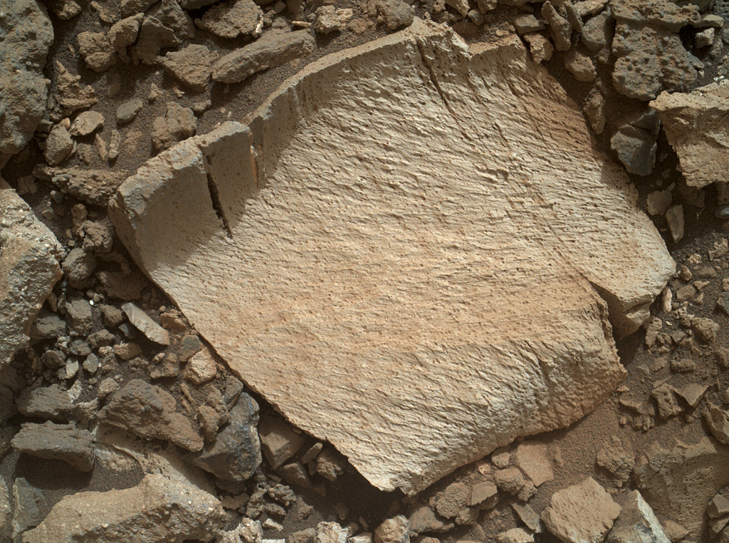 "A rock fragment dubbed ""Lamoose"" is shown in this picture taken by the Mars Hand Lens Imager (MAHLI) on NASA's Curiosity rover. Like other nearby rocks in a portion of the ""Marias Pass"" area of Mt. Sharp, Mars, it has unusually high concentrations of silica. The high silica was first detected in the area by the Chemistry & Camera (ChemCam) laser spectrometer. This rock was targeted for follow-up study by the MAHLI and the arm-mounted Alpha Particle X-ray Spectrometer (APXS). Image Credit: NASA/JPL-Caltech/MSSS"