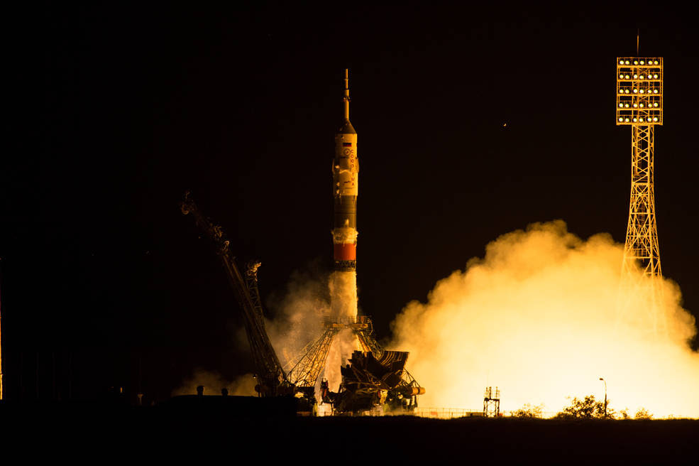 The Soyuz TMA-17M rocket launches from the Baikonur Cosmodrome in Kazakhstan on Thursday, July 23, 2015 carrying Expedition 44 Soyuz Commander Oleg Kononenko of the Russian Federal Space Agency (Roscosmos), Flight Engineer Kjell Lindgren of NASA, and Flight Engineer Kimiya Yui of the Japan Aerospace Exploration Agency (JAXA) into orbit to begin their five month mission on the International Space Station.  Image Credit: NASA/Aubrey Gemignani)