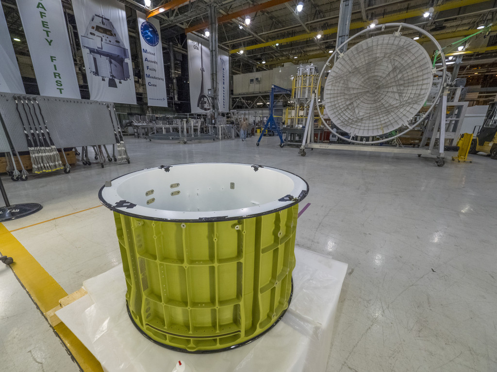 Pieces of the Orion spacecraft that will fly on Exploration Mission-1 already are being prepared for welding at NASA's Michoud Assembly Facility in New Orleans. Image Credit: NASA