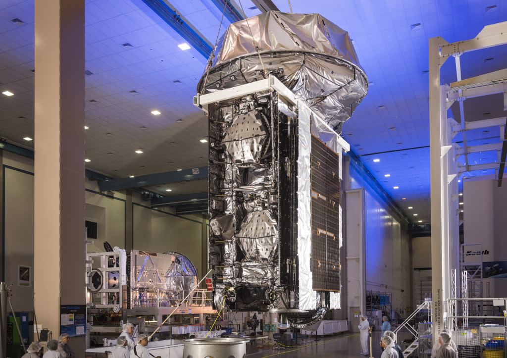Lockheed Martin-built MUOS-4 satellite prior to shipping to Cape Canaveral.  Image Credit: Lockheed Martin