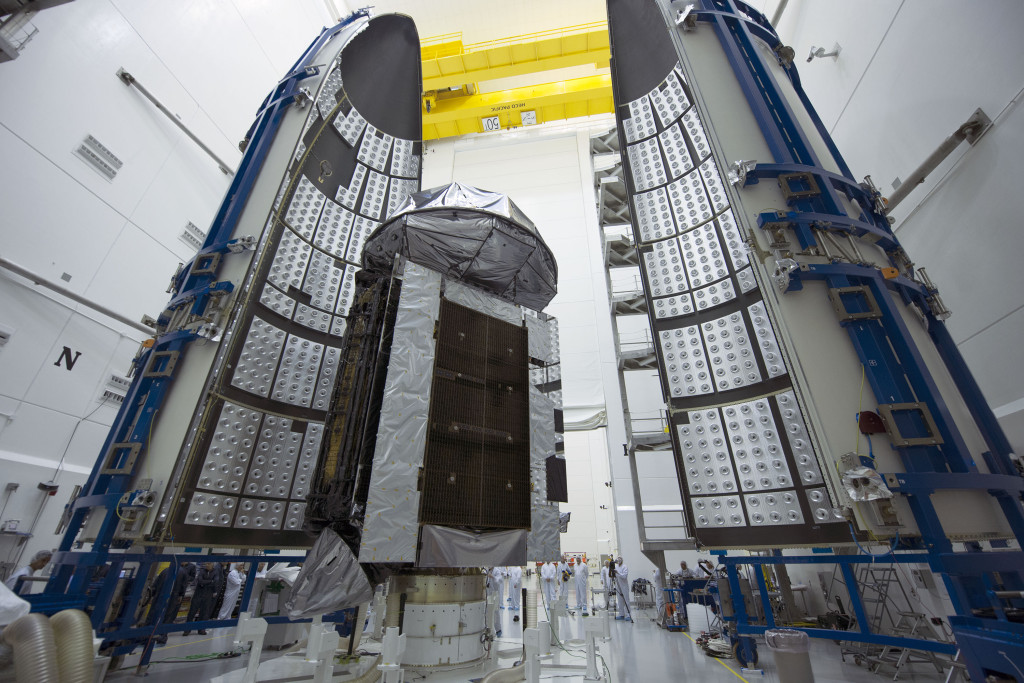 MUOS-4, the next satellite scheduled to join the U.S. Navy's Mobile User Objective System (MUOS) secure communications network, has been encapsulated in its protective launch vehicle fairing for its August 31 launch from Cape Canaveral Air Force Station. Image Credit: United Launch Alliance