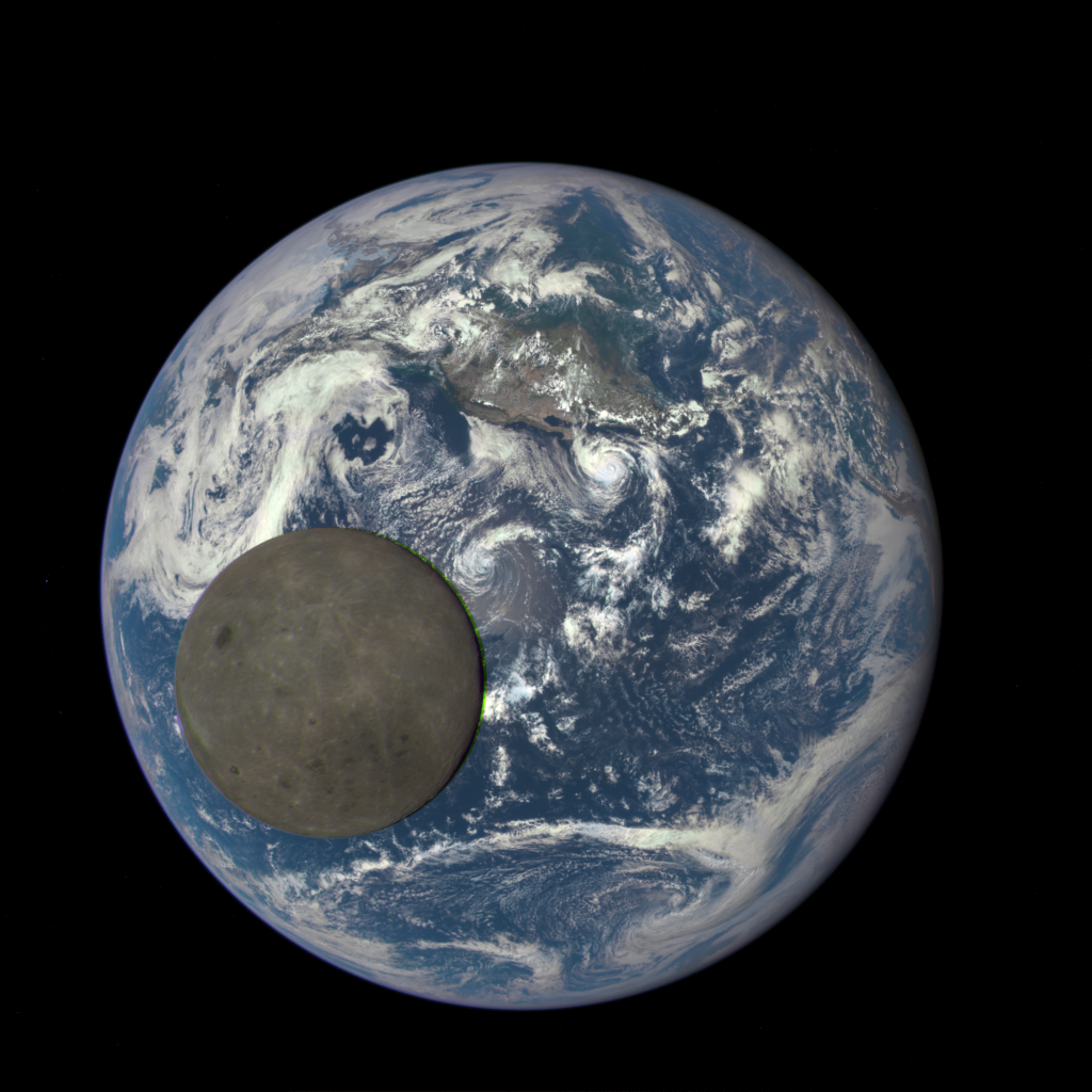 This image shows the far side of the moon, illuminated by the sun, as it crosses between the DISCOVR spacecraft's Earth Polychromatic Imaging Camera (EPIC) camera and telescope, and the Earth - one million miles away. Image Credit: NASA/NOAA