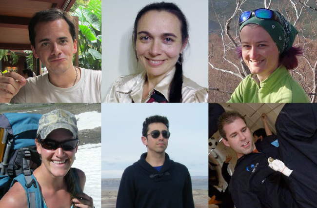 Top row, from left: Tristan Bassingthwaighte, Sheyna Gifford and Christiane Heinicke. Bottom row, from left: Carmel Johnston, Cyprien Verseux and Andrzej Stewart. Image Credit: University of Hawaii