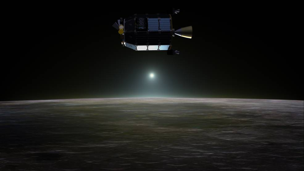 Artist's concept of NASA's Lunar Atmosphere and Dust Environment Explorer (LADEE) spacecraft in orbit above the moon. Image Credit: NASA Ames / Dana Berry