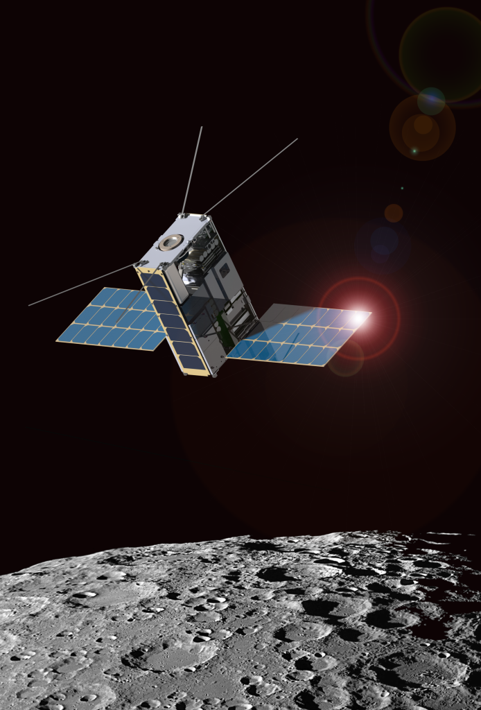 Morehead State University and Goddard are partnering to create the Lunar IceCube mission shown in this artist's rendition. Image Credit: Morehead State University