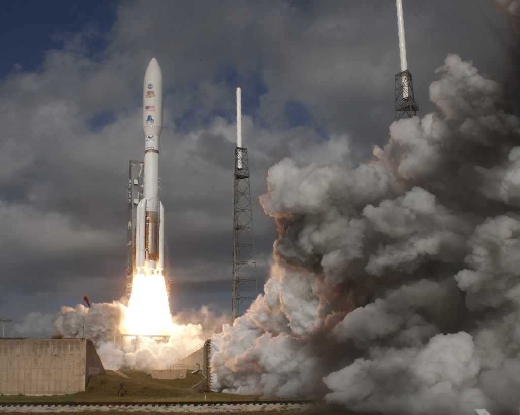 The rover launched aboard one of the biggest rockets available for an interplanetary flight, the United Launch Alliance Atlas V 541. This is the same type of rocket that launched the Mars Reconnaissance Orbiter to Mars and, the Juno spacecraft to Jupiter. Image Credit: NASA