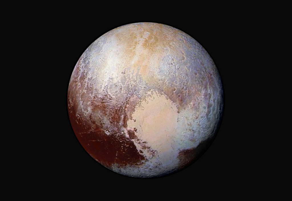 "Pluto's famous ""heart,"" half of which was created by an ancient impact, offers clues about a possible subsurface ocean. Image Credit: NASA/APL/SwRI"
