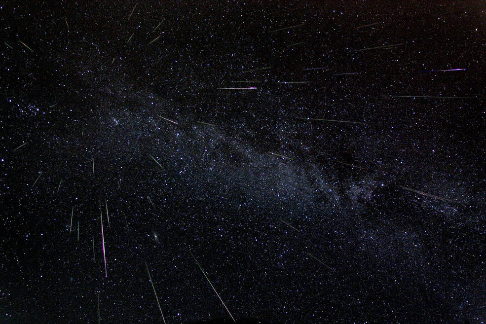 Astronomer Fred Bruenjes recorded a series of many 30 second long exposures spanning about six hours on the night of Aug. 11 and early morning of Aug. 12, 2004 using a wide angle lens. Combining those frames which captured meteor flashes, he produced this dramatic view of the Perseids of summer. There are 51 Perseid meteors in the composite image, including one seen nearly head-on. Image Credit: Fred Bruenjes