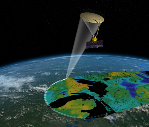 Artist's rendering of the Soil Moisture Active Passive (SMAP) satellite. The width of the region scanned on Earth's surface during each orbit is about 620 miles (1,000 kilometers). Image Credit: NASA/JPL-Caltech