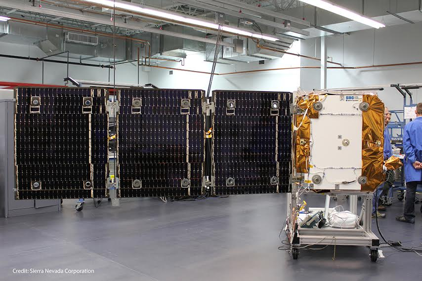 Sierra Nevada Corporation OG2 satellite with deployed solar array. Image Credit: Sierra Nevada Corporation