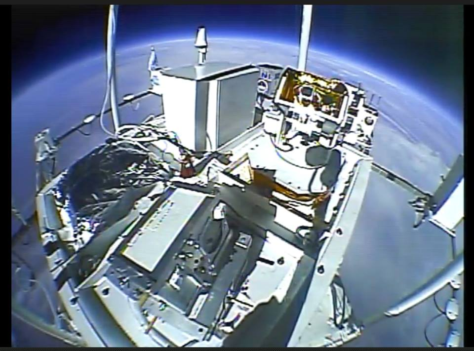 Two payloads built by students with mentorship and support from the Colorado Space Grant Consortium were on today's HASP flight. HELIOS is the gold colored payload just right of center and SIMBA is just to the right of HELIOS in this picture. Image Credit: Colorado Space Grant Consortium
