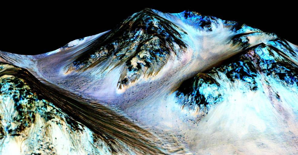 These dark, narrow, 100 meter-long streaks called recurring slope lineae flowing downhill on Mars are inferred to have been formed by contemporary flowing water. Image Credit: NASA/JPL/University of Arizona