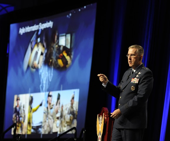 Gen. John Hyten, the Air Force Space Command commander, stresses the importance of agile information superiority during the Air Force Association Air and Space Conference and Technology Exposition in Washington, D.C., Sept. 15, 2015. Image Credit: Air Force photo/Staff Sgt. Whitney Stanfield
