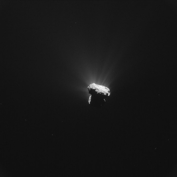 This single frame Rosetta navigation camera image was acquired at 01:04 GMT on 13 August 2015, just one hour before Comet 67P/Churyumov–Gerasimenko reached perihelion – the closest point to the Sun along its 6.5-year orbit. The image was taken around 327 km from the comet. It has a resolution of 28 m/pixel, measures 28.6 km across and was processed to bring out the details of the comet's activity. Image Credit: ESA/Rosetta/NAVCAM – CC BY-SA IGO 3.0