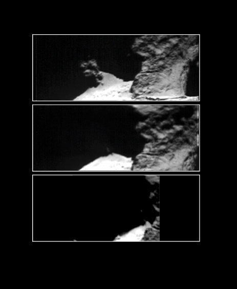 Comet 67P/Churyumov–Gerasimenko 12–14 September 2014 taken with Rosetta's Visible, InfraRed and Thermal Imaging Spectrometer, VIRTIS on 12 (top), 13 (middle) and 14 September (bottom), in the optical band at 0.7 micron. The images focus on Hapi, a region on the comet's 'neck', one of the most active spots on the nucleus at the time. Image Credit: ESA/Rosetta/VIRTIS/INAF-IAPS/OBS DE PARIS-LESIA/DLR; M.C. De Sanctis et al (2015)