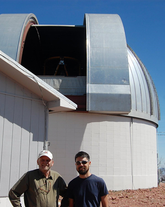 Phil Judge and Paul Bryans visit the 2.3 m telescope at the Wyoming Infrared Observatory (WIRO) on Sept. 11, 2015. Image Credit: HAO